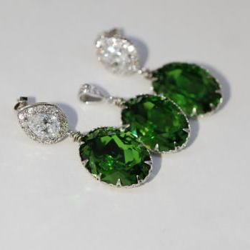 Earrings and Pendant Set (S701a) - CZ Earring with Swarovski Fern Green Oval Crystal (E701), Matching Oval Pendant (P035)