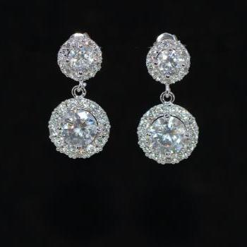 Wedding Earrings, Bridal Jewelry - Cubic Zirconia Detailed Round Earring with Round Cubic Zirconia (E699)