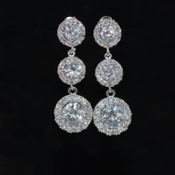 Wedding Earrings, Bridesmaid Earrings, Bridal Jewelry - Cubic Zirconia Round Earring with Small Micropave Round CZ and Large Round CZ (E700)